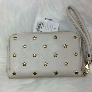 New Fossil Beige Leather Star Phone Wallet Medium